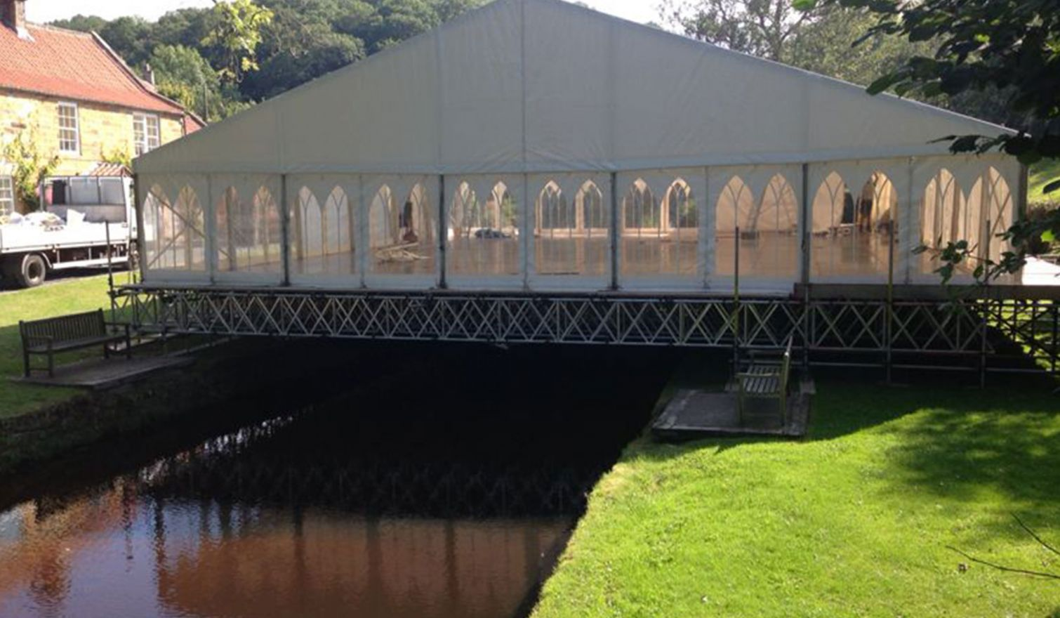 Littlebeck, Whitby - Beamed Marquee Support Scaffold over the River