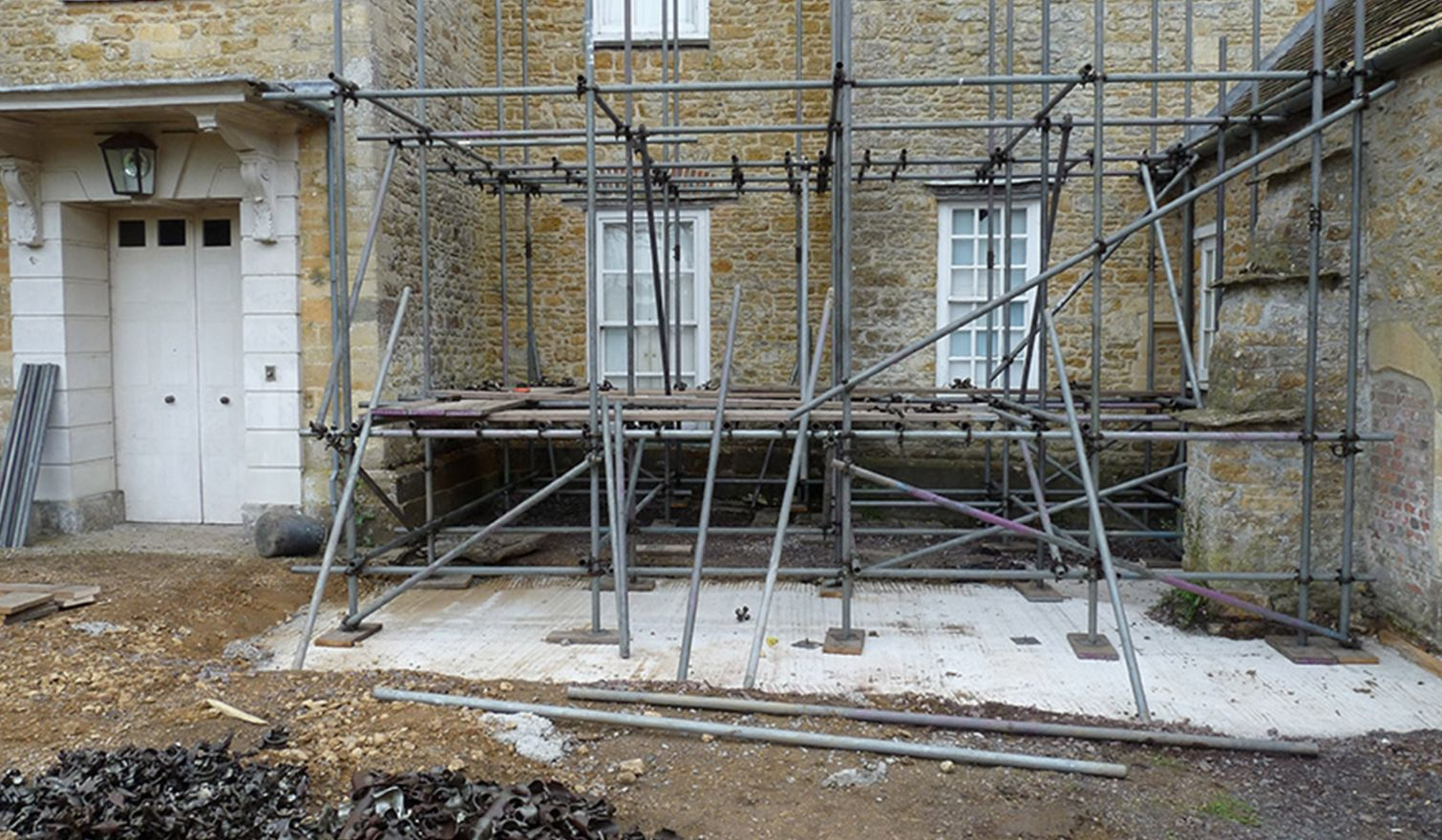 Shanks House - Freestanding Layher Temporary Roof & Access Scaffold