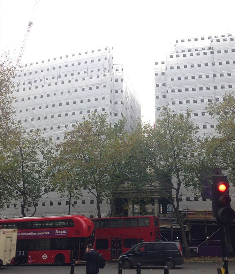 Bush House - Layher Allround Access and Pavement Gantries for Stone Cleaning and Refurbishment
